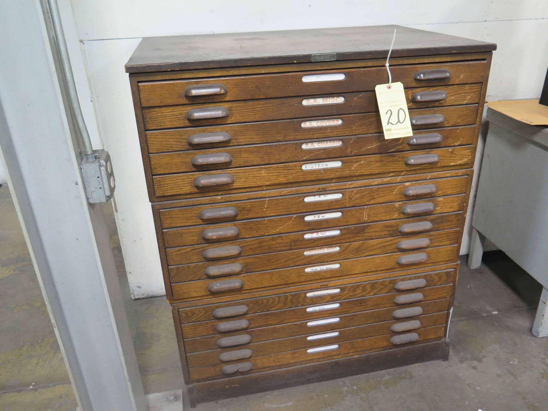 Lot 20 - BLUEPRINT CABINET, wooden, w/(15) drawers