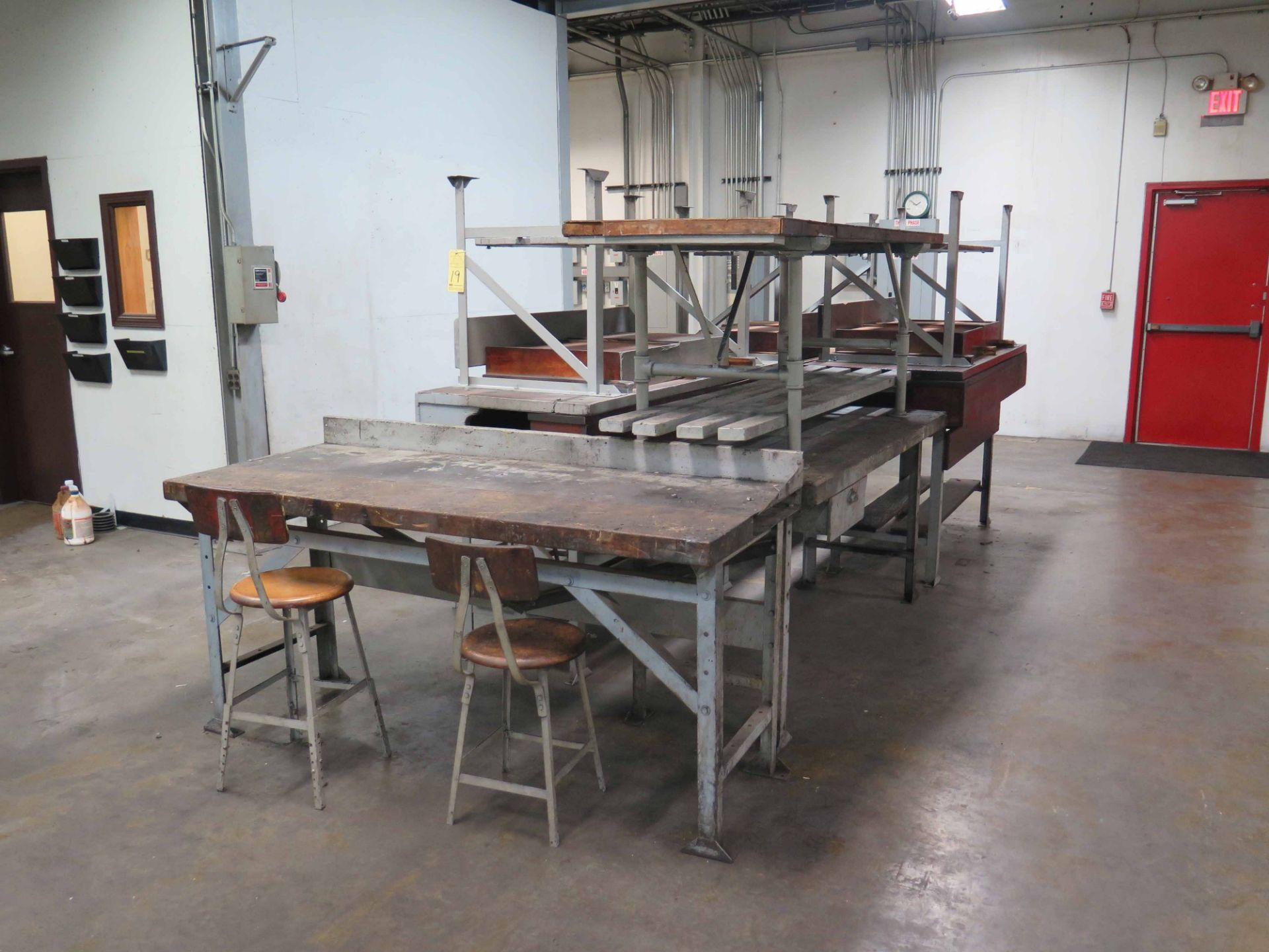 """Lot 19 - LOT OF SHOP TABLES (9), metal legs, wooden tops, 8' x 30"""" tops, some have drawers"""