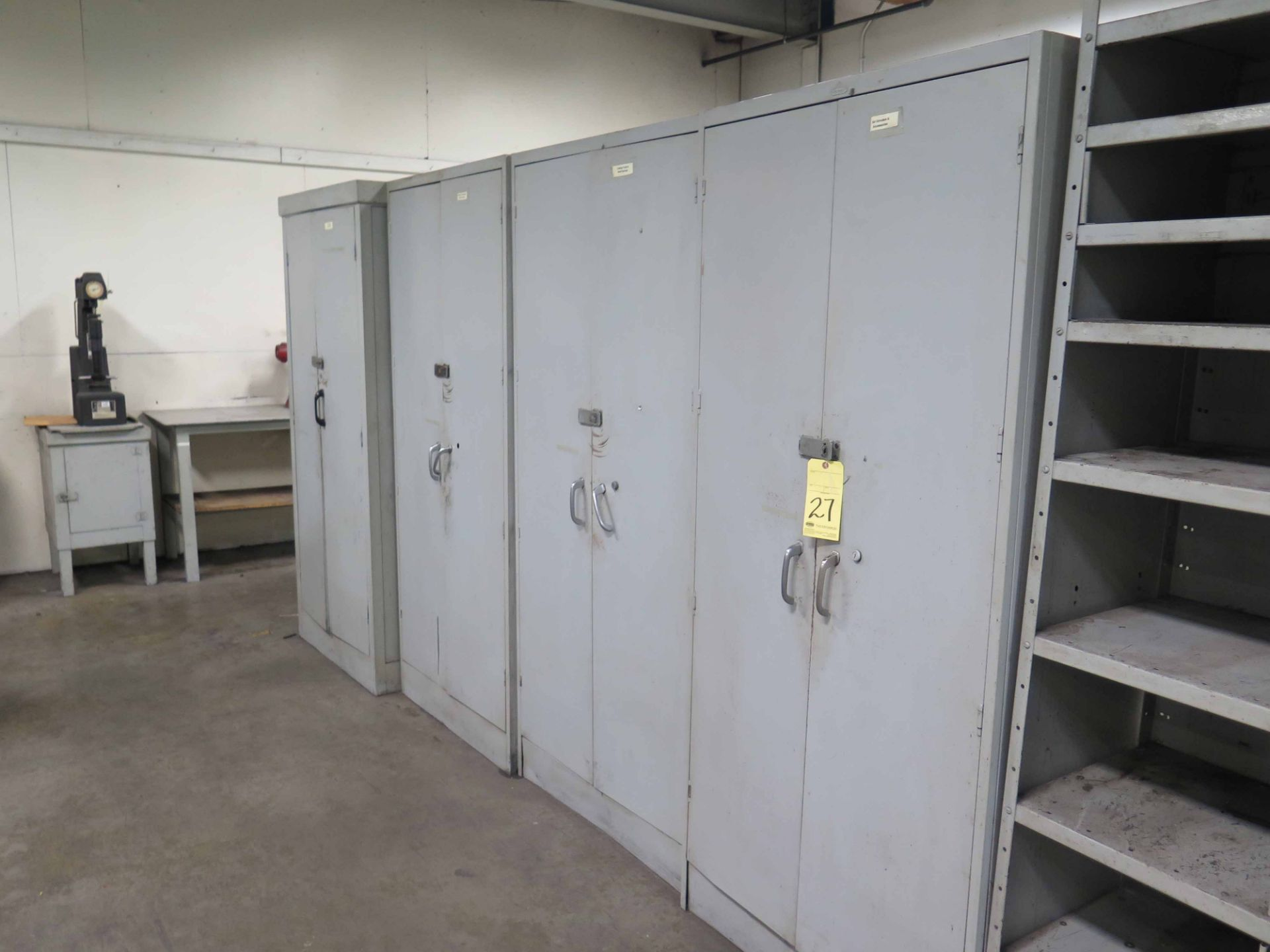 Lot 27 - LOT CONSISTING OF: (5) metal storage cabinets & metal shelf unit