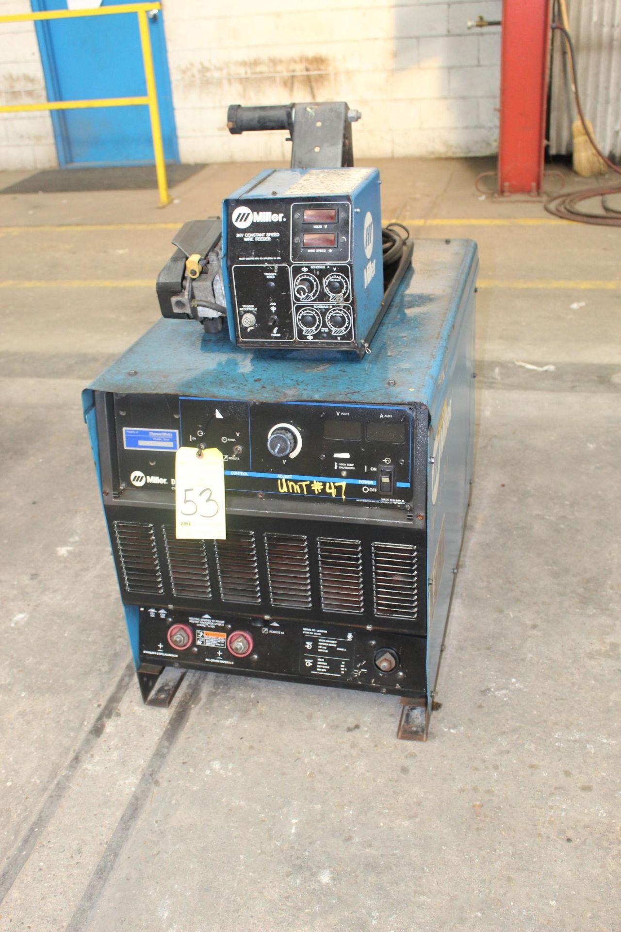 WELDING MACHINE, MILLER MDL. DELTAWELD 652, 650 amps @ 44 v., 100% duty cycle, Miller wire feeder,