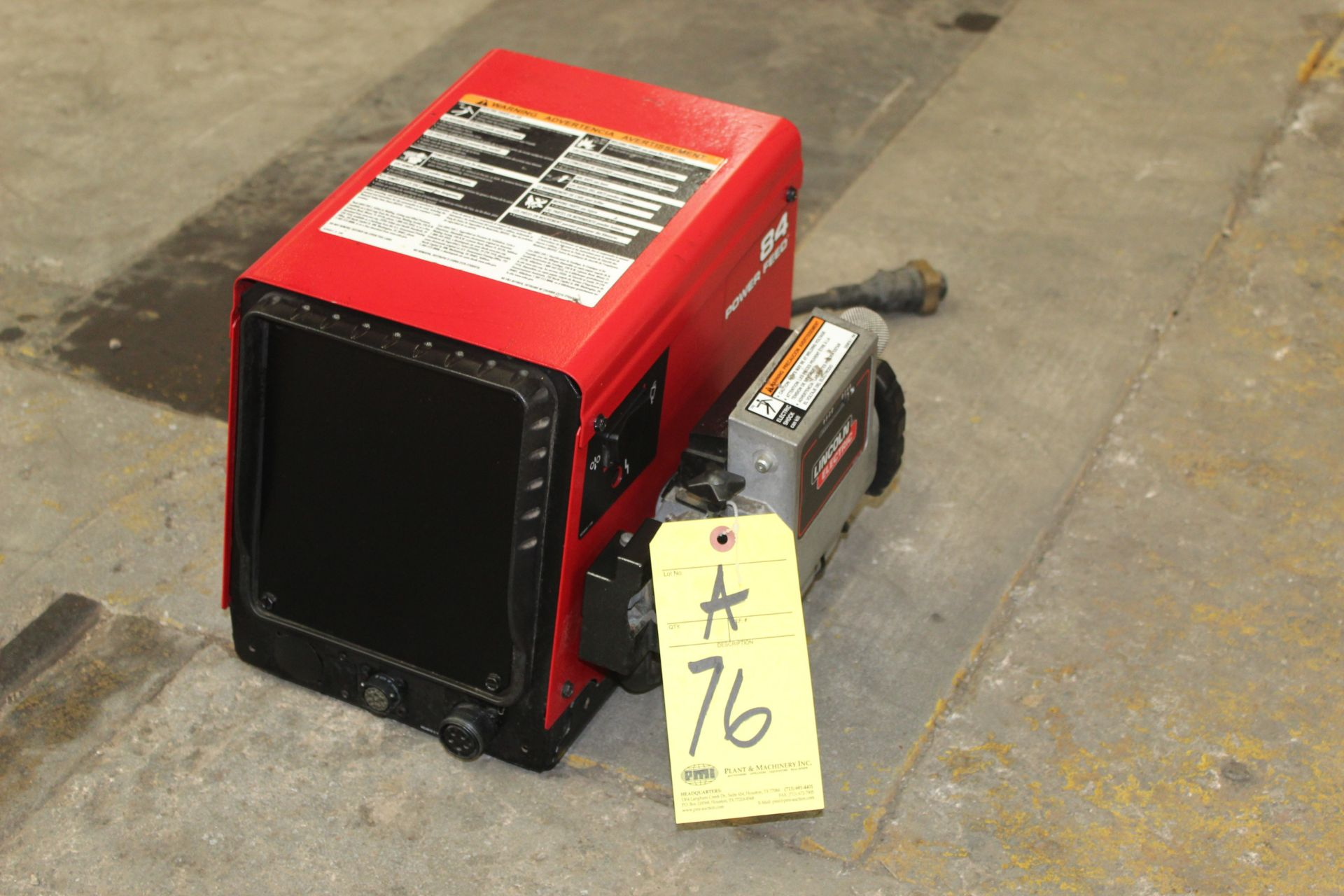 Lot 76A - WIRE FEEDER, LINCOLN MDL. POWER FEED 84, new 2015, S/N U1150303228