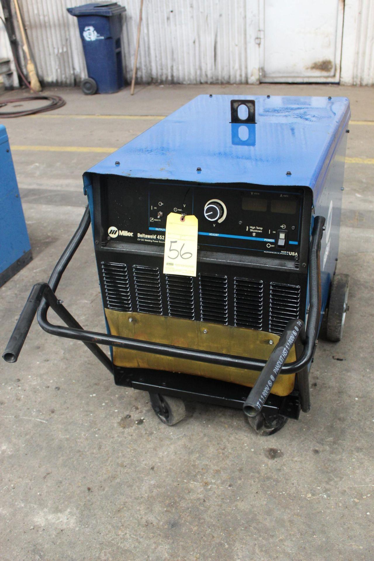 Lot 56 - WELDING MACHINE, MILLER MDL. DELTAWELD 452, 450 amps @ 38 v., 100% duty cycle, S/N KH509517