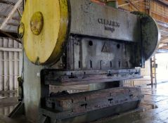 "DOUBLE CRANK GAP PRESS, CLEARING 500 T. CAP. MDL. SG-2500-160, 42"" x 160"" bed size, assorted bed &"