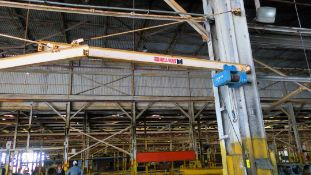 LOT OF (10) WALL MOUNTED JIB CRANES, ABELL-HOWE 1 T. CAP., Shaw Box wire rope hoist (Location A: