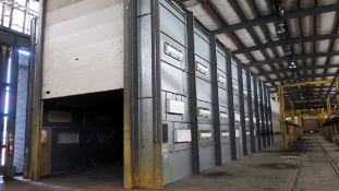 PAINT SPRAY BOOTH, JBI, new 2000, pwr. roll-up doors, updraft booth, 20'W. x 96'L. booth size,