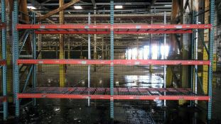 "LOT OF TEAR DROP PALLET RACK SECTIONS (4), 48"" dp. x 11' ht. x 3-tier, w/wire shelving (Location"