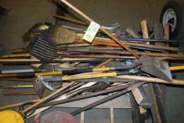 LOT CONSISTING OF: brooms, mops, shovels