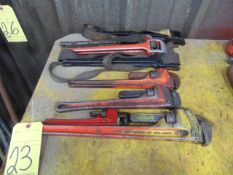 LOT CONSISTING OF: (7) pipe wrenches & straps, assorted