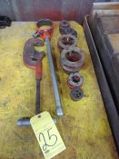 LOT OF PIPE THREADING DIES,, w/pipe cutter