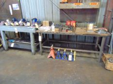 LOT OF WORK BENCHES (9) & TABLES, assorted (Note: cannot be removed until empty)