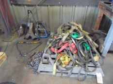 LOT CONSISTING OF: slings & lifting hooks, assorted