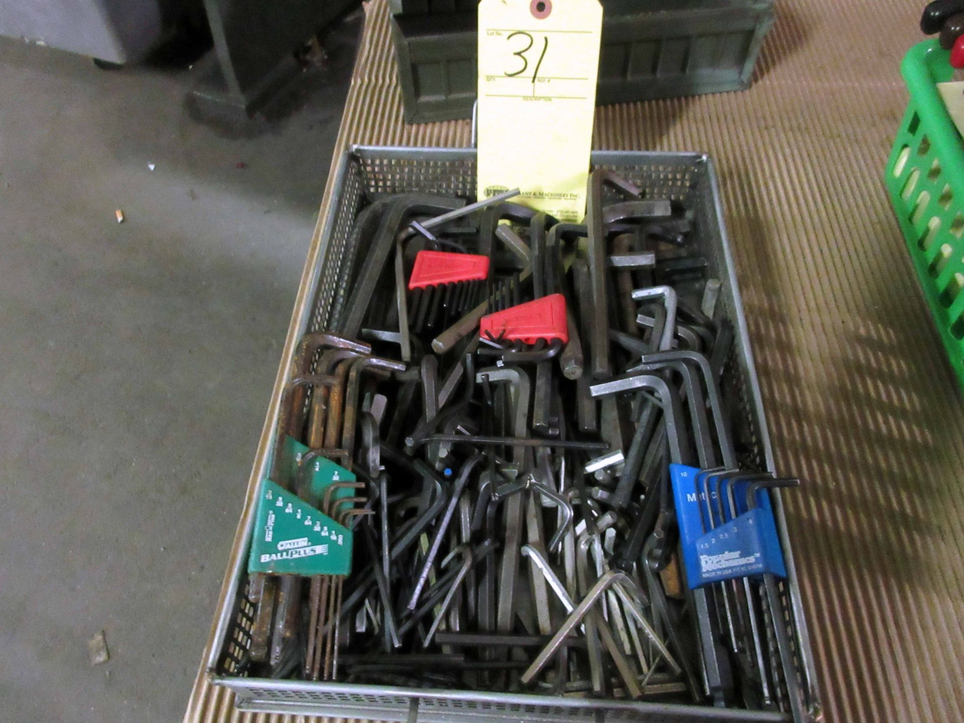 Lot 31 - LOT OF ALLEN WRENCHES, assorted, w/stand
