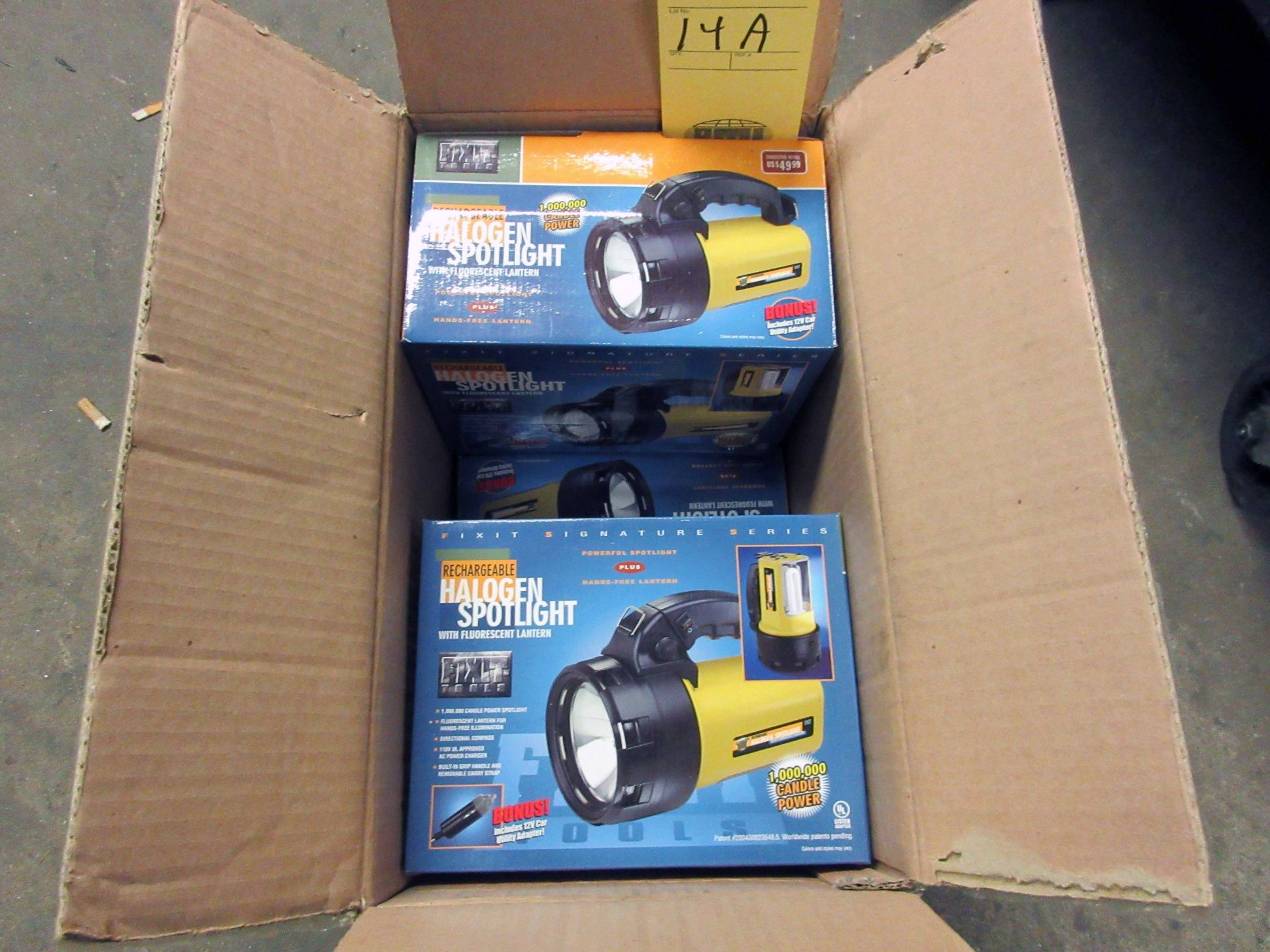 Lot 14A - LOT OF HALOGEN SPOTLIGHTS (5), rechargeable (new in box)