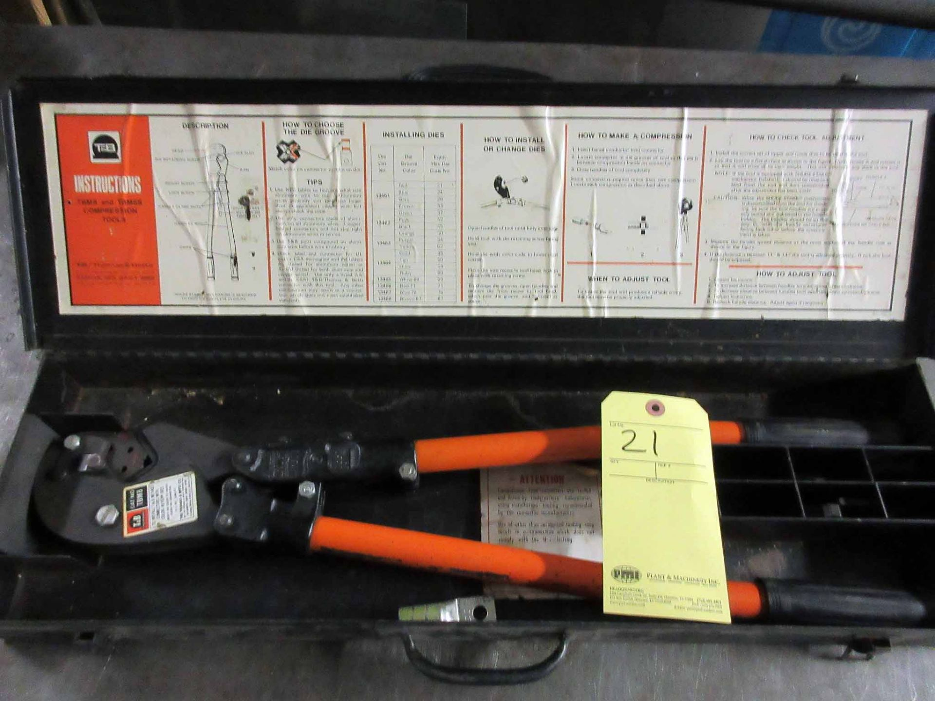 Lot 21 - COMPRESSION TOOL, T&B, H.D., in case