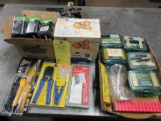 LOT CONSISTING OF: soldering gun, Network wire crimping tool, (9) 1.5v batteries, reusable ear plugs
