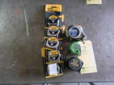 LOT OF TAPE MEASURES: (5) 7 x 12' & 1 x 25' (new) & (3) used