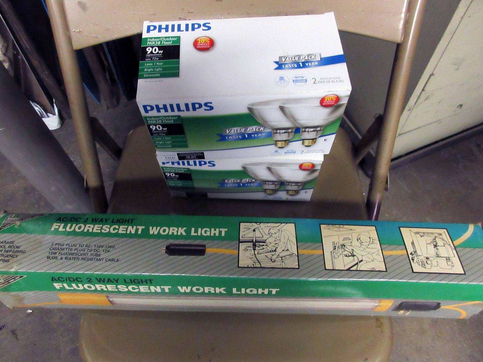 Lot 14 - LOT CONSISTING OF: AC/DC work light, (3) 90w indoor/outdoor flood lights, 6' aluminum light