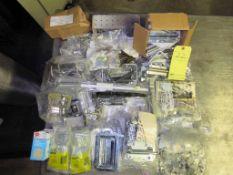 LOT OF METAL/WOOD TOOLBOX ACCESSORIES: hinges, handles, clasps, etc.