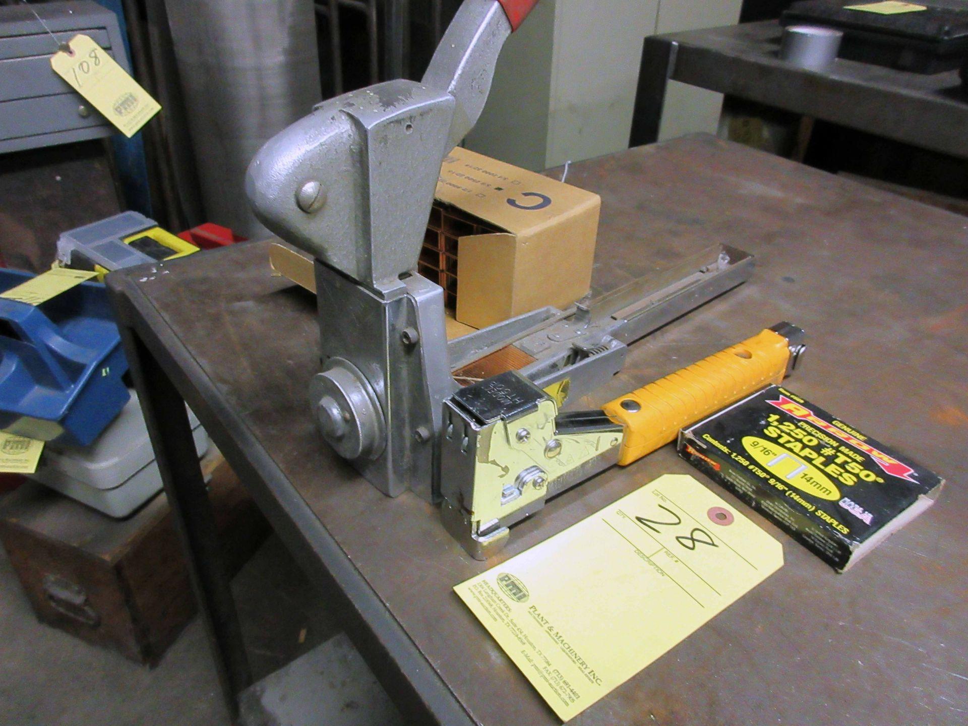 "Lot 28 - LOT CONSISTING OF: San Jacinto 5/8"" stapler w/box of staples & 9/16"" slap stapler"