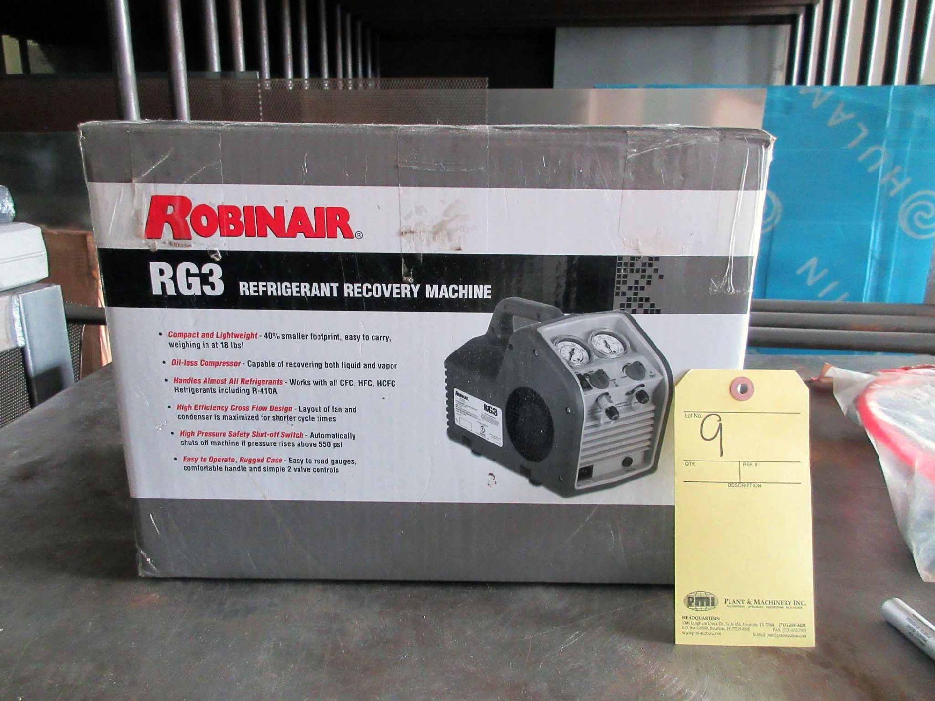 Lot 9 - REFRIGERANT RECOVERY MACHINE, ROBINAIR MDL. RG3 (new in box)