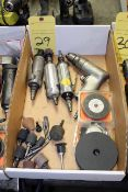 LOT CONSISTING OF: pneumatic straight grinders, drill & consumables