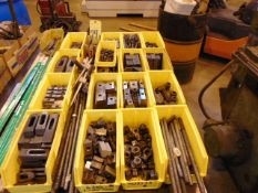 LOT CONSISTING OF: assorted hold-downs & clamping tools (in sixteen boxes