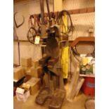 RATCHET STYLE ARBOR PRESS, GREENERD MDL. 5S, w/hand wheel & dbl. ratchet