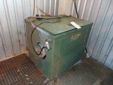 RECTANGULAR VIBRATORY TUMBLER, BURR-OFF, approx. 3 cu. ft., noise control cabinet & side dump
