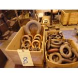LOT CONSISTING OF: assorted eyebolts & shackles (in three boxes)