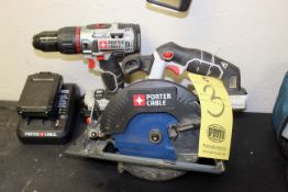 LOT CONSISTING OF: battery operated set, Porter Cable saw, drill (Pasadena)