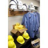 LOT CONSISTING OF: lab coats, coveralls & hard hats, 2-shelf bookcase (Pasadena)