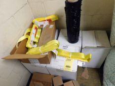 LOT CONTENTS OF UPSTAIRS BOOTH: lifting straps, stretch wrap, duct tape, paint, sanding belts,