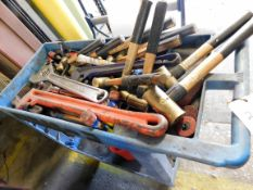 LOT CONSISTING OF: large wrenches & American brass hammers, w/roller cart