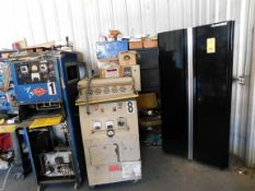 LOT CONTENTS OF MAINTENANCE ROOM: Husky cabinet, U.S. General toolbox, cabinets & shelves w/plumbing