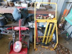 LOT CONSISTING OF: (2) torch carts w/accessories, (3) sledge hammers, pipe wrench, Come-Along