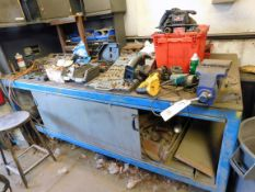"LOT CONSISTING OF: 4' x 8' steel fabrication table w/5-1/2"" jaw, Wilton vise, assorted power &"