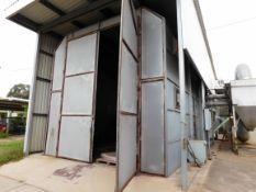 BLAST BOOTH, approx. 15'W. x 40'L., Zero blast cabinet, hopper & reclamation system, American Fan