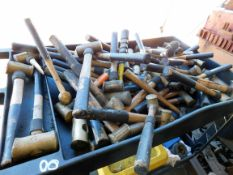 LOT OF AMERICAN BRASS HAMMERS, on roller cart