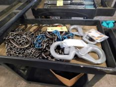 LOT CONSISTING OF: chain slings & Crosby Shur-Loc hooks, w/cart