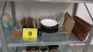LOT OF PLATES AND WOOD CUTTING BOARDS