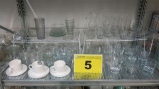 LOT OF ASSORTED GLASSWARE AND CHINA