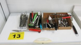 LOT OF ASSORTED KNIVES, LADLES, UTENSILS AND BBQ ACCESSORIES