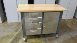 STAINLESS STEEL, 4 DRAWER, WORKBENCH WITH WOOD TOP AND DESK