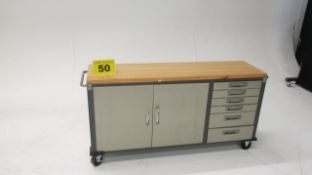STAINLESS STEEL, DUAL DOOR, WORKBENCH WITH WOOD WORK TOP AND 6 DRAWERS