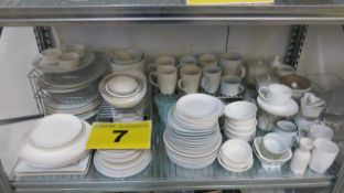 LOT OF ASSORTED CHINA INCLUDING PLATES, BOWLS, CUPS AND MUGS
