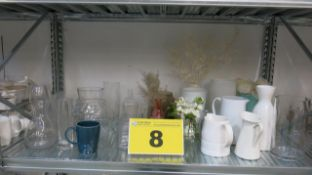 LOT OF ASSORTED GLASS VASES, PITCHERS AND FAKE FLOWERS