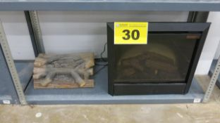 LOT OF ELECTRIC FIREPLACE AND WOOD LOG