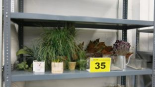 LOT OF FAKE PLANTS AND VASES