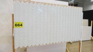 WHITE, TILED, STUDIO BACKDROP ON CASTERS