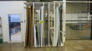 LOT OF ASSORTED COLOURED BACK LIGHT PHOTO BOARDS WITH WOOD STORAGE FRAMES, 4' X 4' X 8' (L, W, H)